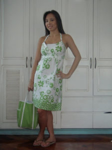 Jellybean green sundress with Clinique loot bag