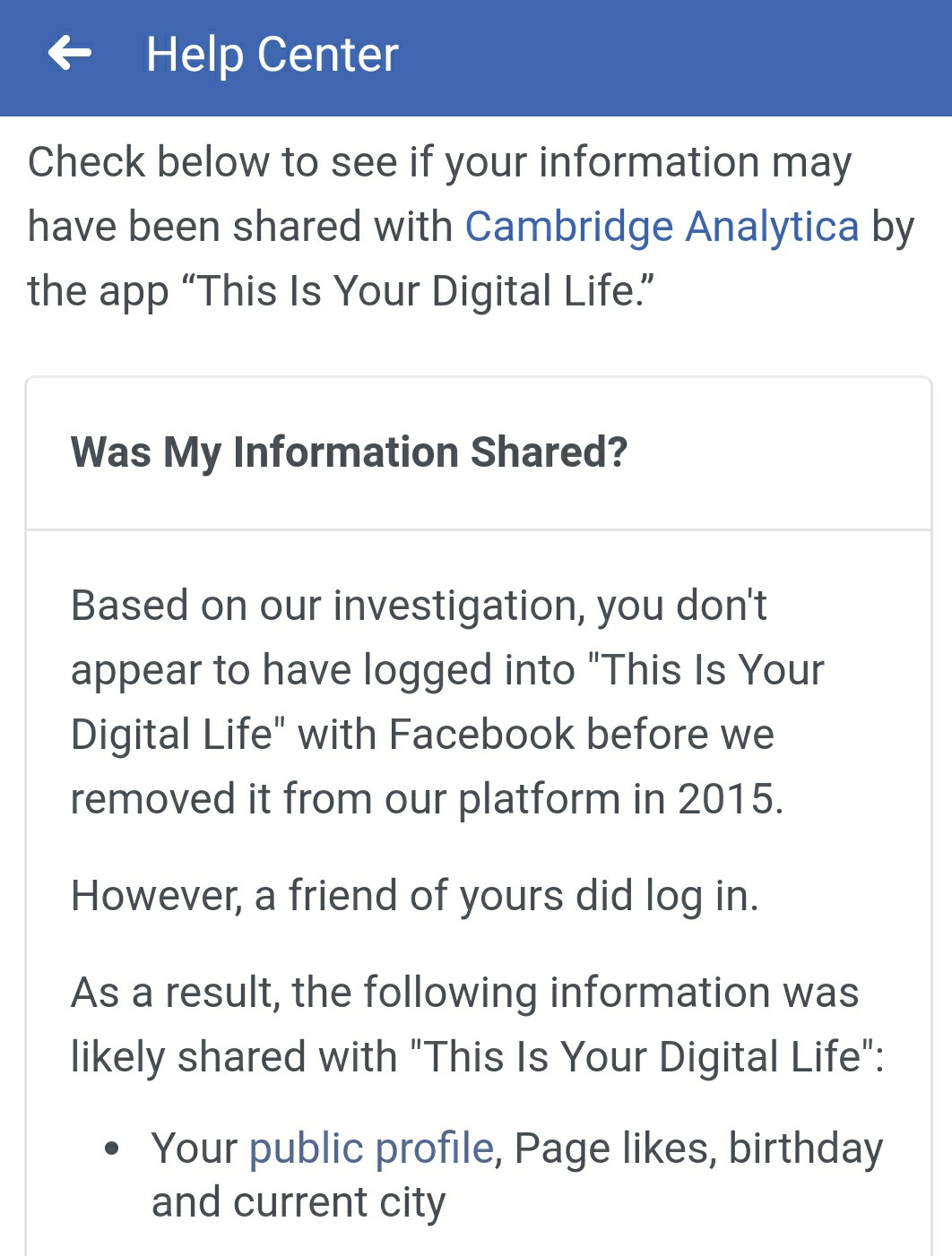 Facebook shows you if your info was shared with Cambridge Analytica