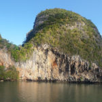 sheer limestone rock faces Phang Nga Bay