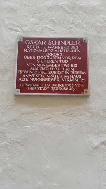 plaque at Oskar Schindler's house Regensburg
