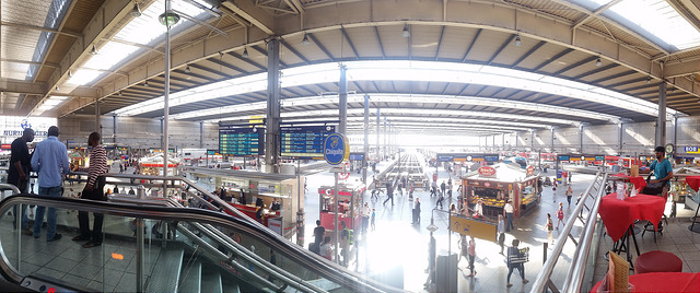 a panoramic view of the main platform Munich Train Station